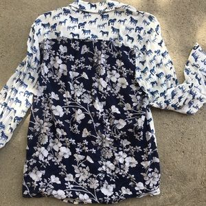 Style & Co Tops - Style & Co horse print button up blouse